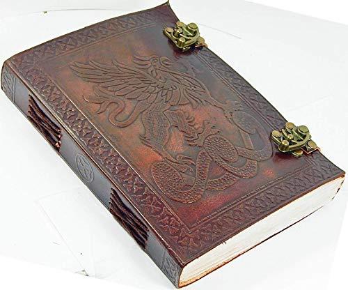 {Miel Cuir Exporters} double dragon Main estampée Cuir vierge livre