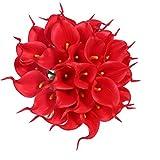 Veryhome, Kunstblumenstrauß, 20 Stück Lilien, aus Latex, fühlen sich echt an, Deko für Zuhause, Party, Hochzeit rot