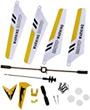 Full Replacement Parts Set for Syma S107 / S107G RC Helicopter, Main Blades,Tail Decorations,Tail blade,Balance Bar,Connect Buckle, Inner Shaft. Yellow Set-