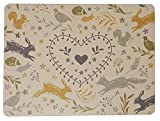 Woodland Tiere Hase Igel Fox Eichhörnchen Platzdeckchen mit Unterseite aus Kork 29x 21,5x 00.3