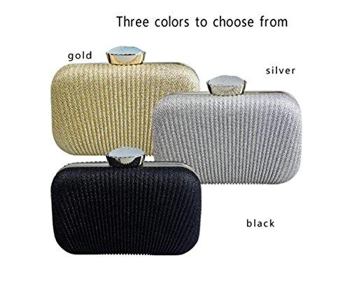 GSHGA Borse Da Sera Delle Frizioni Delle Donne Colore Solido Rughe,Silver Black