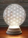 Blume des Lebens Ambientelicht aus Acryl, mit Holzsockel