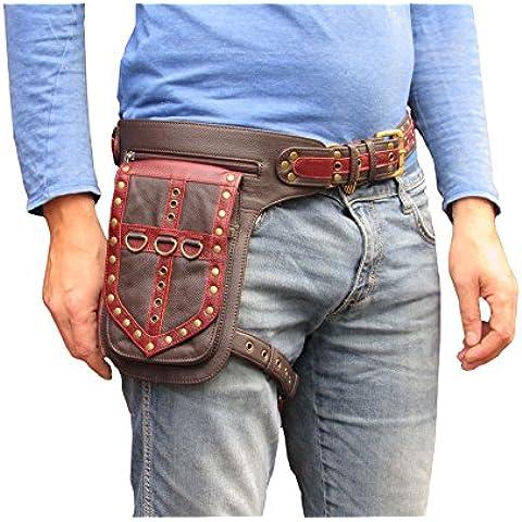 Bolso del Muslo Cinturón de Cadera Cuero Funda de la Pierna (Rojo y marrón)