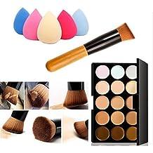 Susenstone 15 Colors Makeup Concealer Contour Palette + Water Sponge Puff + Makeup Brush