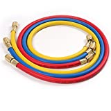 Atoplee 3pcs (2500~500)PSI 1/4 'SAE-1/4' SAE AC Charging Hose Set For HVAC Air Condition Refrigerant R12 R22 R502