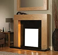 Gas or Electric Fire Oak Surround Black Granite Marble Modern Wall Fireplace Suite 48""