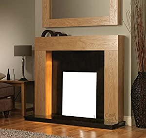 """Gas or Electric Fire Oak Surround Black Granite Marble Modern Wall Fireplace Suite 48"""""""