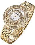 Uhren Modeschmuck Damen Damenuhr Gold Armband Mit Doppelten Kreis-Strasssteinen Gold Ton