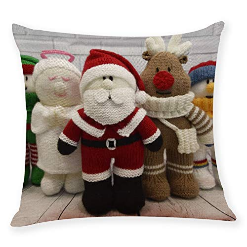 Frashing Kissenbezüge Weihnachten Sofa Schlafzimmer Haus Weihnachten Dekor Drucken Weihnachten Puppe Zierkissenbezüge Dekokissen Bezug Sofakissenbezug 9 Muster, 45cm x 45cm