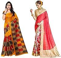 Jaanvi fashion Women's Combo Bhagalpuri Cotton Silk Printed Saree(Pack of 2)