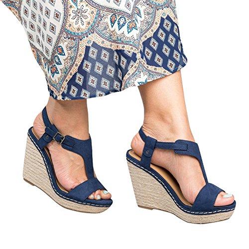 Gemijacka Damen Keilabsatz T-Spange Sandalen Knöchel Schnalle Offene Zehe Sommer Schuhe (Slingback Keil-espadrille)