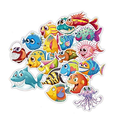 ⭐Top Aufkleber !⭐ Set von 40 Fisch Aufkleber - Premium Qualität - Vinyls Stickers Nicht Vulgär - Fisch, Haie, Aquarium, Ozean - Anpassung Laptop, Gepäck, Moto, Fahrrad, Skate (Fisch-skate)