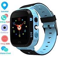 "Kids Smart Watches Phone - 1.4"" Touch Screen Children Phone Wristwatch with Call SOS Voice Chat Camera Flashlight Alarm Learning Games Toy Birthday Gifts for Boys Girls Age 4-12 (Blue)"