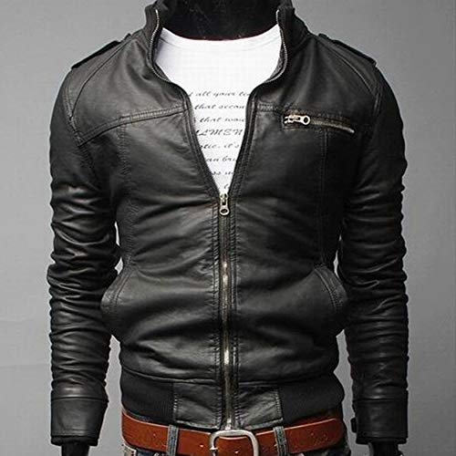 e80de38eb6 Yaoaoesn Solid Color Fashion Long Section Windproof PU Leather Coat Casual  Slim Fit Thickening Outwear for