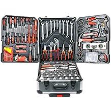 Euronovità Srl - Caja de herramientas completa con carrito de transporte profesional, maletín de cromo vanadio con juego de 187 herramientas (incluye llaves inglesas fijas)