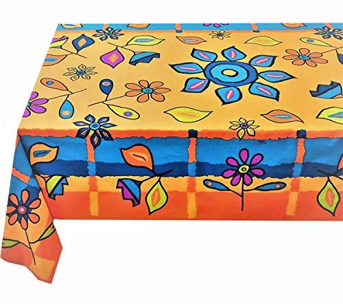 Kutex-tovaglia rettangolare 140 x 180 cm barbablÙ 100% cotone made in italy arancio- giallo