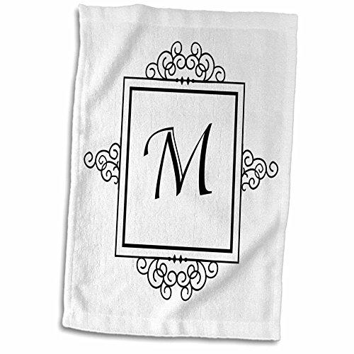 Handtuch, 3D-Rose, Buchstabe M, Monogramm, elegant, stilvoll, personalisierbar, 38,1 x 55,9 cm, Mehrfarbig Monogramm Rose