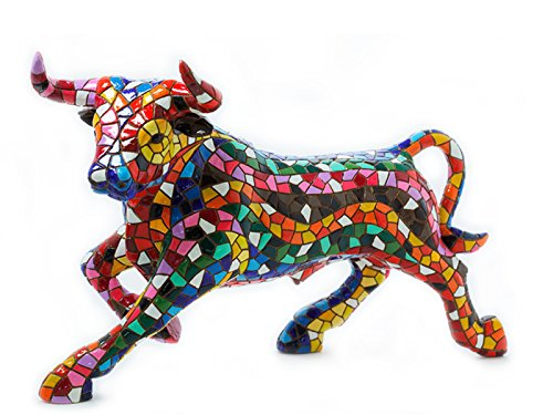 Bull Figurine Mosaic Collection Multicolor Trencadis Antonio Gaudí 24 cm multicoloured