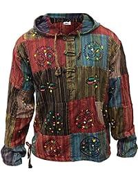 Fashion Shopoholic Top diseño de parches Hippy capucha para hombre