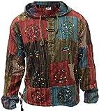 Shopoholic Fashion Stonewashed Stripe Patchwork Hippy Hooded Grandad Shirt(XL)