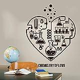 Sticker mural 42x54cm Conception Chimie Science Abstrait Coeur Sticker Laboratoire Classe Geek Chimie Affiche Papier Peint