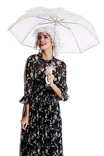 DRESS ME UP YS-002W Parasol Sonnenschirm Barock Rokoko Viktorianisch Biedermeier Weiß Gothic Lolita