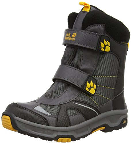 Jack Wolfskin BOYS POLAR BEAR TEXAPORE, Jungen Warm gefütterte Schneestiefel, Grau (dark steel 6032), 40 EU (6.5 Kinder UK) (Bear Polar Boys)