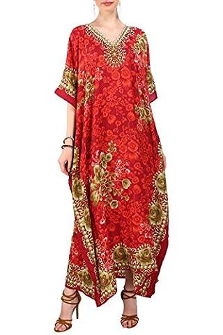 Nouvelles dames Maxi longue vêtements de nuit lingerie de nuit tunique Kimono soirée Plus caftan taille taille 38-56, 19071-Rouge, 46-50