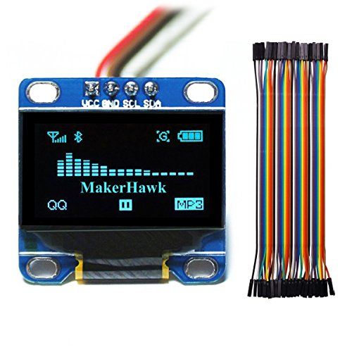 MakerHawk OLED Display Module, SPI I2C IIC 128X64 LCD LED Display Module  for Arduino UNO R3 STM 0 96 Inch and 40pcs Wires 20CM 40-Pin Female to  Female