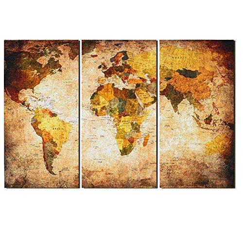 Retro mappa del mondo vintage stampe su tela decorazione for Stampe da parete