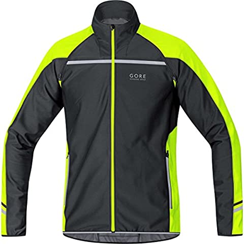 GORE RUNNING WEAR 3 in 1 Herren Soft Shell Laufjacke, Jersey oder Weste, Abnehmbare Ärmel, GORE WINDSTOPPER, MYTHOS 2.0 WS SO Zip-Off Light Jacket, Größe M, Schwarz/Neon Gelb, JWMYLM