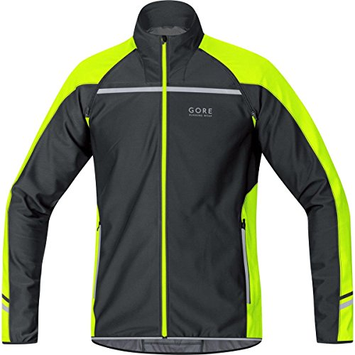 GORE RUNNING WEAR, Homme, Veste, Gilet et Maillot de course, 3 en 1, chaud et fonctionnel, GORE WINDSTOPPER Soft Shell, MYTHOS 2,0 WS SO Zip-Off Light, Taille L, Noir/Jaune Fluo, JWMYLM990805