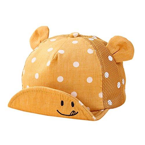 Yalatan Baby Junge Mädchen Kinder Kleinkind Mütze Baseball Tupfen Cap Hut Sonnenschutz (6-24M, Gelb Mesh) (Cap Baseball Baby)