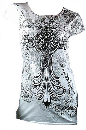 Amplified Damen Lady T-Shirt Weiss White Saint & Sinner Tattoo Gothic Cross Skull Totenkopf Emo Rock Star Strass Designer Tunika Tunik Longshirt ViP L 42 (Skull White Star)
