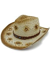 Screenes Unisex Sombrero De Damas Hombre Hechas Vaquero para A Mano Estilo  Simple De Rafia Paja Sombrero Occidental Sombrero De… 9b618e510c7