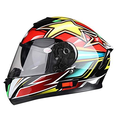 YUEMS Abnehmbarer Helm Multifunktions-Anti-Fog-Doppellinse Motorrad Männer und Frauen Full Face Helm Farbe Aurora (Farbe : Double Star, größe : L)