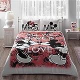 Mickey y Minnie Mouse King Queen adultos dibujos animados juego de cama colcha, edredón de cama Linens Doona, algodón), diseño de juegos (Rojo, queen Querida