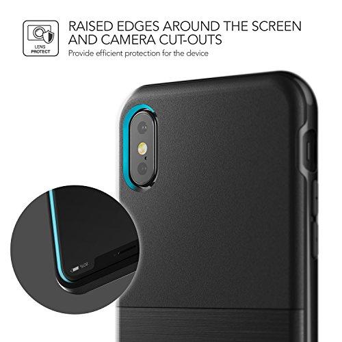 Cover iPhone X, VRS Design® Custodia [Bianca+Rosa] Ultra-Sottili Antiurto Doppia Custodia Protettiva [High Pro Shield] Morbido TPU con Paraurti PC per Apple iPhone X Edizione (2017) Nero