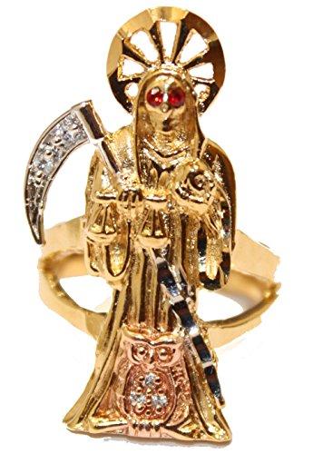 Santa Muerte Grim Reaper 18K chapado en oro anillo tamaño 9–Santa Muerte 18K anillo chapado en oro