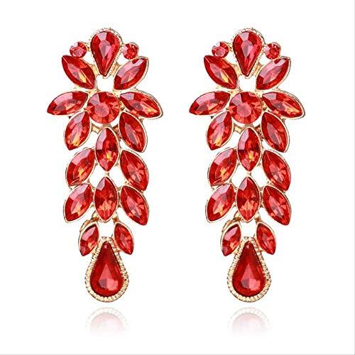 LXMS Ohrring Mode Hochzeit Zubehör Antike Bronze Vintage Grün Großen Stein Kristall Strass Ohrringe Für Frauen Schmuck