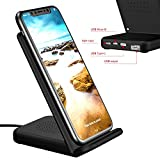 Fast Wireless Charging Stand, HuiHeng Qi Foldable Phone Charger Station Power mat for iPhone 8/ iPhone x, Samsung Galaxy S6-S8/ Edge, HTC 8X, Google Nexus 4-7 and more Qi-Enabled devices