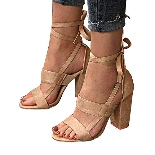 9d287f5de2e7 Minetom Sandalen Damen Riemchen Sandaletten High Heels Party Blockabsatz  Shoes Elegante Abendschuhe Übergröße Mode Casual Schuhe