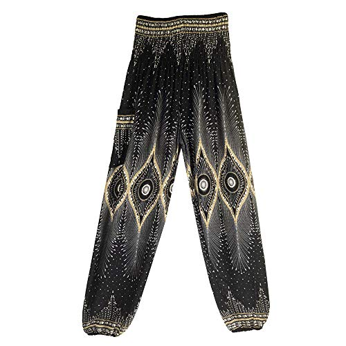 Watopi Männer Damen Thai Haremshose Boho Festival Hippie Kittel High Waist Yoga Pants Elastisch Strandhosen Aladin Hose