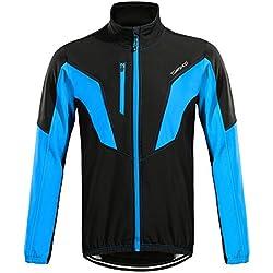 TOMSHOO Herren Fahrradjacke Fahrradbekleidung Wasserdicht Winddicht Atmungsaktiv Warm Fleece Jacket für Winter Herbst
