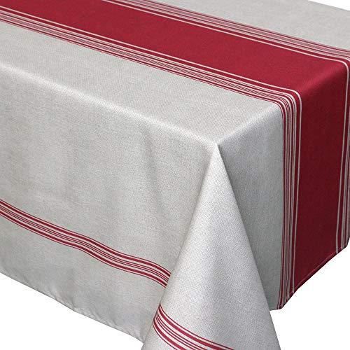Nappe rectangle 150x300 cm imprimée 100% polyester BISTROT Rouge