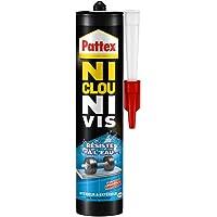 Pattex Ni Clou Ni Vis Résiste à l'eau, colle de fixation surpuissante, colle blanche, colle rapide pour bois, céramique…