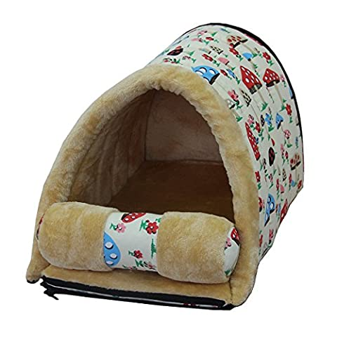 Cozy 2 in 1 Dog Cave Bed & Mat, Mixse Waterproof Oxford Fabric Pet Bed Cushion Furniture Fur-free Plush Kennel House for Small Dog Puppy Cat,Cream Mushroom