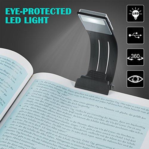 Lámpara de Lectura, Luces de lectura, Semoon LED Lectura Luz Clip Pinza con Carga USB Batería Recargable Con 4 Niveles de brillo Ajustable Marca de Libro con Brazo Flexible