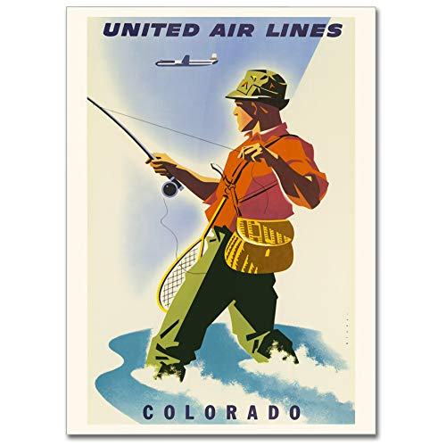 LaMAGLIERIA Hochqualitatives Poster - Colorado United Airlines Vintage Travel Poster - Posterdruck glänzend laminiert im Großformat, 50cmx70cm - United Airlines Poster
