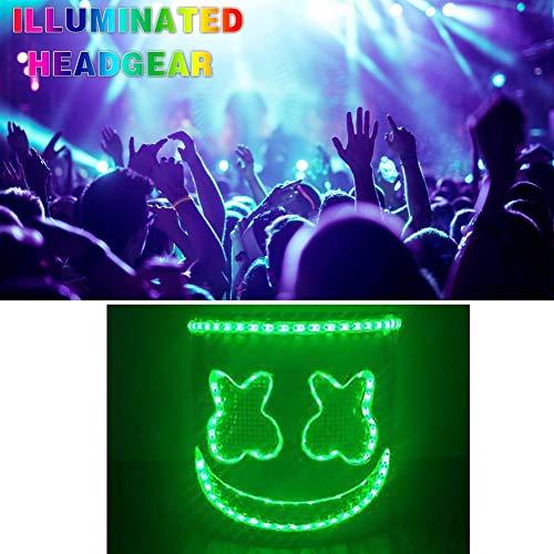 Halloween Party Nachtclub LED Flashing Headgear Music Festival Latex Weiß Maske Party für Cosplay Bühnenperformance Music Festival ()